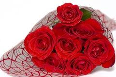 Buketten av röda rosor ligger på en vit bakgrund royaltyfria foton