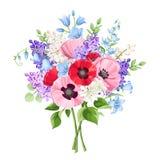 Buketten av rött, rosa färger och lilor blommar också vektor för coreldrawillustration royaltyfri illustrationer