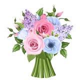 Buketten av rosa färger, blått- och lilarosor, lisianthusen och lilan blommar också vektor för coreldrawillustration Royaltyfria Bilder