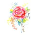 Buketten av rosor, vattenfärg, kan användas som hälsningkort, inbjudankortet för att gifta sig, födelsedagen och annan ferie och  royaltyfri illustrationer