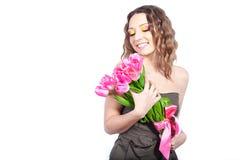buketten blommar flickabarn Royaltyfri Foto