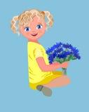 buketten blommar flickan Royaltyfri Fotografi