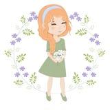 buketten blommar flickan royaltyfri illustrationer