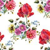 Buketten blommar med den sömlösa modellen för tulpanvattenfärgen Royaltyfri Bild