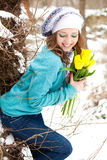 buketten blommar parkkvinnan Arkivbild