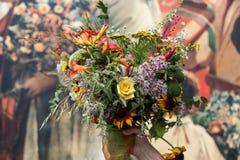 buketter av blommor och örter Fotografering för Bildbyråer