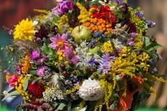 buketter av blommor och örter Arkivfoto