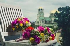 Buketter av brudtärnor Royaltyfri Bild