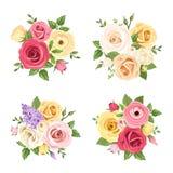 Buketter av färgrika blommor Vektoruppsättning av fyra illustrationer Arkivbilder