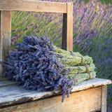 Buketter på lavendlar på en gammal bänk Royaltyfri Foto