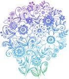 bukettklotter blommar den sketchy anteckningsboken royaltyfri illustrationer