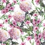 Bukettkrysantemumet, persika blommar, vattenfärgen, mönstrar sömlöst Arkivbilder
