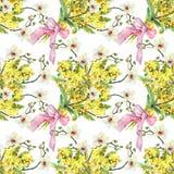 Bukettmimosa, orkidé och pilbåge, vattenfärg Royaltyfria Bilder