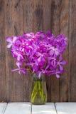 Bukettorkidén blommar i den tropiska gården på en trätabell Royaltyfri Fotografi