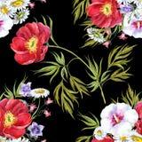 Bukettsommar blommar, vattenfärgen, mönstrar sömlöst Arkivfoto