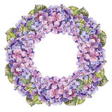 Bukettvanlig hortensiablomma, girlandvattenfärg Fotografering för Bildbyråer