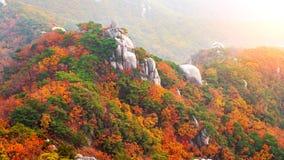 Bukhansan góry w jesieni w Korea Fotografia Royalty Free