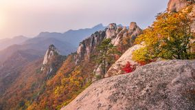 Bukhansan mountains in autumn,Seoul in South Korea royalty free stock image