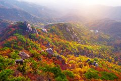 Bukhansan mountains in autumn,Seoul in South Korea royalty free stock photography