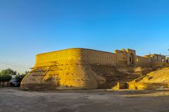 Bukhara Old City 118. Bukhara Old City Picturesque Breathtaking Zindan Fortified Walls at Sunset stock photo
