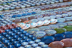 Bukhara. Rows of cups on a street market in the city of Bukhara, Uzbekistan Royalty Free Stock Photography
