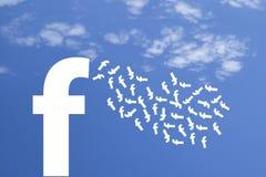 Bukhara Uzbekistan - Februari 7, 2018: Illustration av Facebook s huvud, chefer eller arbetare som lämnar företaget arkivbild
