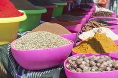 BUKHARA UZBEKISTAN, MAJ, - 25, 2018: Jedwab i pikantność festiwal 2018 Tradycyjny azjatykci pikantność bazar w Bukhara, Uzbekista Zdjęcia Stock