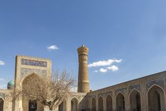 Bukhara, Uzbekistan - March 13, 2019: The Mosque Kalyan. One of the oldest and largest Mosque in Central Asia. Main cathedral. Mosque of Bukhara, Uzbekistan stock photography