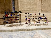 Hat store in a Bukhara street Stock Photography