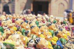 BUKHARA, UZBEKISTAN - MAY 25, 2018: Silk and Spices Festival 2018. Gift Sets handmade. Miniature handmade Uzbek ceramic souvenir. stock image