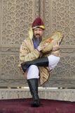 BUKHARA, UZBEKISTAN - MAY 25, 2018: Silk and Spices Festival 2018. levitating dervish in Bukhara, Uzbekistan. royalty free stock photography