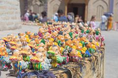 BUKHARA, UZBEKISTAN - MAY 25, 2018: Silk and Spices Festival 2018. Souvenirs shop in Bukhara, Uzbekistan. royalty free stock photography