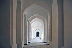 Bukhara: white corridor of madrassah Royalty Free Stock Image