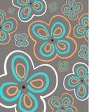bukietów formie ciągnąć wzoru mały bezszwowy kwiat w kontekście niebieskie chmury odpowiadają trawy zielone niebo białe wispy nat Obrazy Stock