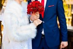 3 bukietów ostrości przedpola ślub obraz stock