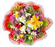 Bukietów różni kwiaty w odgórnym widoku odizolowywającym na białym tle z ścinek ścieżką, Zdjęcia Stock