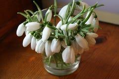 Bukiet śnieżyczki w wazie na drewnianych deskach zdjęcia royalty free
