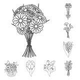 Bukiet świezi kwiaty zarysowywa ikony w ustalonej kolekci dla projekta Różnorodnych bukietów symbolu zapasu wektorowa sieć ilustracja wektor