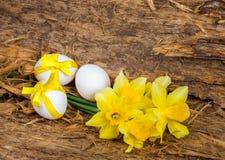 Bukiet żółci daffodils i kurczaka jajko z faborkiem obrazy royalty free