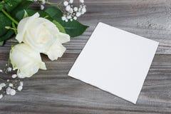 Bukiet biel róża i papierowa karta Obraz Royalty Free