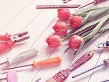 Bukiet czerwoni tulipany i różnorodni narzędzia układamy na białym drewnianym tle Zdjęcia Stock