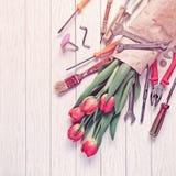 Bukiet czerwoni tulipany zawija w prostackim papierze W pobliżu są różnorodni narzędzia tła drewniany lekki Obrazy Stock