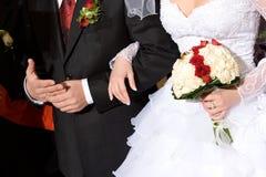 bukiet czerwonych róż panny młodej, białe Fotografia Royalty Free