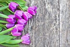 Bukiet fiołkowi tulipany na dębowym brązu stole Obrazy Stock