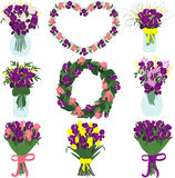 Bukiet irysy i skład purpur i menchii irys frezje i tulipany Zdjęcie Stock