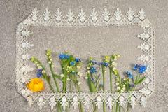 Bukiet kłaść na srebnym tle w prostokątnej biel koronki ramie Fotografia Royalty Free