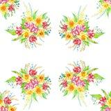 bukiet kwiatów wiosny Rysować, wykonuję ręką z akwarelą maluje wzór Raster wizerunek Zdjęcia Royalty Free