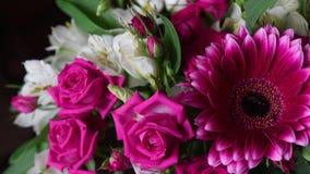 Bukiet kwiat róże i gerberas Gerber zakończenie w górę zbiory