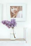Bukiet kwiaty i fotografii rama Zdjęcia Royalty Free