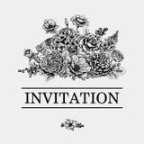 Bukiet kwiaty karty poboru ślub ilustracyjny Zdjęcia Stock